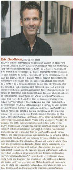 """Montréal Centre_Ville, Été 2012: """"Functionalab a été élue la meilleure marque de beauté émergente par les détaillants les plus influents du monde."""""""