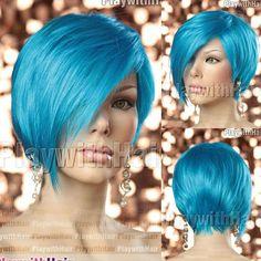Sleek Pixie Cut Short Wig Longer Front Electric Blue  short bobo style  best quality hair wigs  10pcs/lot