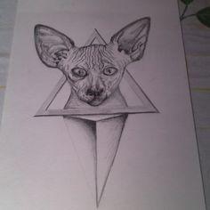 Geometric sphynx #art #sphynx #animal #cat #pencil #draw #sketch