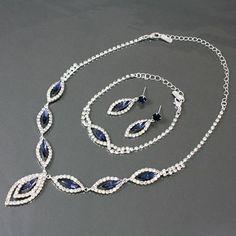 "Womens Necklace & Earrings Set, Silver & Blue Sapphire Crystal & Rhinestone Necklace Set -14"" - 18"" Long -Pendant (1.5..."