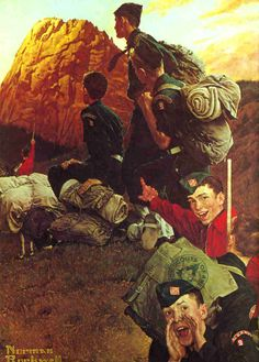 Norman Rockwell painting from 1957 of Explorer Scouts at the Tooth of Time at Philmont Scout Ranch.