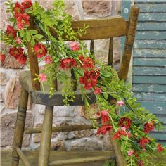 Absolutely gorgeous!  This garland of pink and red roses accentuated by a variety of greens, will add a splash of color and cheer to your decor. So life-like they are the perfect accent for a mantle, table, archway or stairway. #country #decor #artificial #spring #flowers