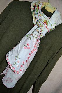 scarves made from vintage hankies. I could do this with some hankies I have from a great aunt...hmmm...
