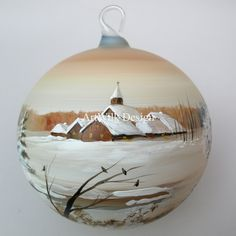 Glass Christmas ball hand painted by artist from ArtWilk.