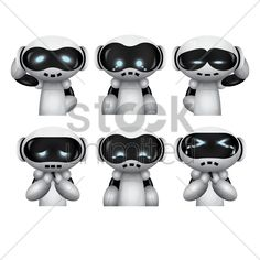 robot with different expressions vector graphic
