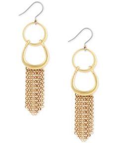 Lucky Brand Gold-Tone Fringe Drop Earrings  - Gold