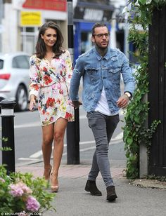 Runway ready: Clad in a tiny floral dress, the TOWIE star stunned as she headed to film for a fashion show for Danielle Armstrong's shop anniversary at the Old Regents Ballroom in Essex on Wednesday Urban Fashion, Mens Fashion, Fashion Outfits, Mens Club Outfit, David Beckham Style, Megan Mckenna, Casual Wear For Men, Moda Casual, Denim Jacket Men