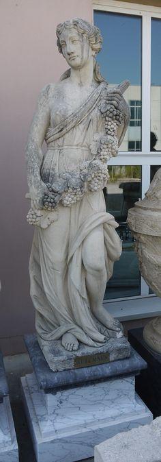 Scultura in pietra l'Autunno delle 4 stagioni - http://www.achillegrassi.com/it/project/scultura-in-pietra-lautunno-delle-4-stagioni/ - Splendido esempio di scultura,in Pietra bianca di Vicenza, raffigurante l'Autunno delle 4 stagioni . Da notare la cura dei dettagli delle decorazioni realizzati dai nostri abili scalpellini.  Dimensioni: Scultura in Pietra bianca  60cm x 45cm x 180cm (H)  Basamento in marmo Carrara e Nero Marquina  65cm x 65cm x 50cm (H)