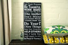 Family Rules Sign Version III  Typography by barnowlprimitives, $95.00...I LOVE and want this!! :-)