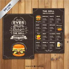 menu du restaurant Grill dans le style rétro                                                                                                                                                                                 Plus