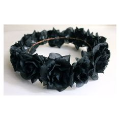 Black Flower Crown, Gothic Flower Crown, Black Flower Headband, Rave... ❤ liked on Polyvore featuring accessories, hair accessories, garland headband, headband hair accessories, head wrap headband, flower headwrap and floral crown