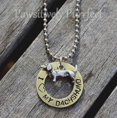 I Love My Dachshund Handstamped Necklace by PawsitivelyPurrfect1, $25.00
