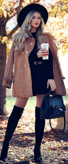 incredible winter outfit idea : black hat nude jacket bag over knee boots little black dress