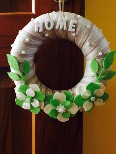 Out door wreath with Ribbon glitter and pearls Handmade felt days Handmade Felt, Door Wreaths, Passion, Etsy