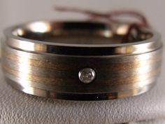 $45 Starting Bid: Mens Titanium Ring w/ Sterling Inlay & Dia
