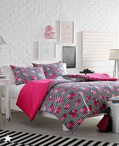 Create your own domain fit for a queen with the black and white striped bedset from the Luv Betsey Royal Roses Bedding Collection. Want to add some color? Turn over the reversible comforter for a pop of vibrant pink whenever your heart desires. Available now at Macy's!