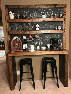 Here are 30 brilliant coffee station ideas for creating a little coffee corner that will help you decorate your home. See more ideas about Coffee corner kitchen, Home coffee bars and Kitchen bar decor, Rustic Coffee Bar. Coffee Bar Station, Coffee Station Kitchen, Coffee Bars In Kitchen, Coffee Bar Home, Home Coffee Stations, Coffe Bar, Coffee Area, Coffee Nook, Coffee Coffee