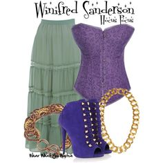 Inspired by Bette Midler as Winifred Sanderson in Hocus Pocus. This looks more like Sarah Sanderson though Halloween Movies, Halloween Costumes, Costumes 2015, Team Costumes, Disneyland Halloween, Halloween 2017, Happy Halloween, Halloween Party, Fandom Fashion