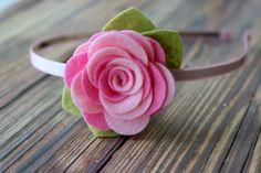Felt flower headband  HARD HEADBAND  pink от muffintopsandtutus