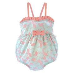 Newborn Girls\' Flamingo One Piece Swimsuit - Mint/Pink