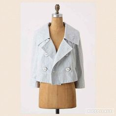 """HP Anthropologie Thursday Cropped Blazer Style Staple Host Pick  This double-breasted seersucker jacket from Daughters of the Liberation is a modern southern charmer. Button closure Cotton, polyester; rayon, cotton lining Dry clean 17.5""""L  Only worn once and still in excellent condition.   Reasonable offers are always considered Smoke and pet free home No PayPalNo Trades Anthropologie Jackets & Coats Blazers"""