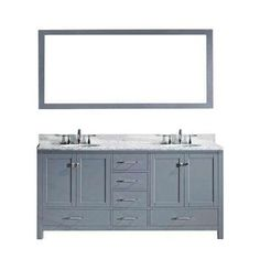 Caroline Avenue 60 in. W x 36 in. H Vanity with Marble Vanity Top in Carrara White with White Square Basin and Mirror