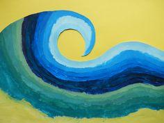 Wave painting using tonal gradation. Primary School, Wave, Students, Symbols, Sea, Artwork, Painting, Work Of Art, Auguste Rodin Artwork