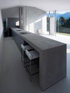 Most Inspiring Concrete Kitchen Countertop Ideas For Stylish Decor concrete kitchen 23 Concrete Interiors, Concrete Furniture, Concrete Bench, Concrete Counter, Concrete Walls, Kitchen Island Bench, Kitchen Dinning, Kitchen Unit, Island Table