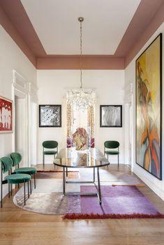 〚 Colorful eclectic interiors of old palazzo in Brescia, Italy 〛 ◾ Photos ◾ Ideas ◾ Design #corridor #interiordesign #homedecor #ideas #inspiration #tips #cozy #living #style #space #interior #decor Interior Architecture, Interior Design, Palazzo, Oversized Mirror, Gallery Wall, Italy, Inspiration, Furniture, Art Walls
