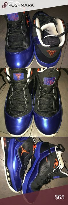Jordan Melo M8 Men?s Basketball sneakers Jordan Melo M8 Men?s Basketball sneakers Size 7.5  Black/orange flash/blue ribbon/white. Originally $135.   Preowned. Scuffs, wear and tear. A lot of life left.  Synthetic & patent leather upper with Flywire panel.  Cushioning by Zoom in the forefoot, a heel Max Air unit /padded Achilles support.  Thick full length Phylon midsole.?Rubber outsole with herringbone pattern and flex grooves.  The Jordan Melo M8 is the eighth signature sneaker for Michael…