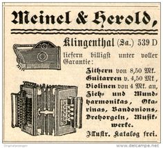 Original-Werbung/ Anzeige 1901 - MUSIK - INSTRUMENTE MEINEL & HEROLD KLINGENTHAL -  ca. 50 X 40 mm