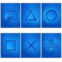 Playstation Video Game Room Decor - Set of 6 & Free Decal - Gamer Room Decor For Boys & Girls - Gaming Posters For Teen - Video Game Wall Art - Modern PS4 Wall Art - 8x10 Inch UNFRAMED
