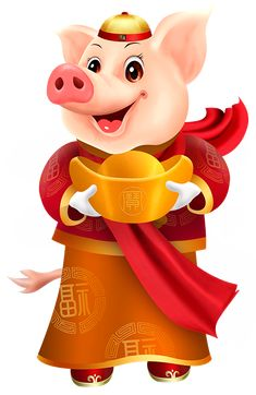 Chinese New Year Wallpaper, Chinese New Year Greeting, Happy Chinese New Year, New Year Greetings, Happy New Year, Chinese Festival, New Year Pictures, Year Of The Pig, Cute Cartoon