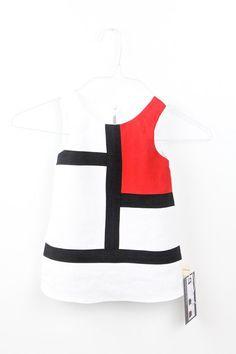 Girls Colorblock White Black Red Dress by AvantgardeStudio on Etsy