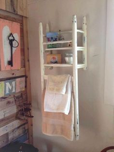 Chair upcycled as a wall shelf rack towels bric-à-brac