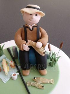 Fisherman cake - by Helen Alborn @ CakesDecor.com - cake decorating website