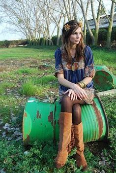 Bohemian hippy girl...perfect for a thanksgiving dinner outfit only not blue but orange or red