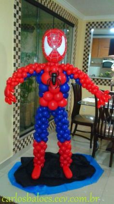 Esculturas e decorações - Homem Aranha Balloon Table Centerpieces, Ballon Decorations, Birthday Party Decorations, Superman Birthday Party, 1st Boy Birthday, Superhero Party, Superhero Balloons, Balloon Backdrop, Balloon Columns
