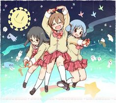 "Mai, Yuuko, and Mio - Three of the main characters in Nichijou. Yuuko is the hyperactive one (center), Mio is the blue-haired ""straight man"" character (right), and Mai is an enigma all her own (left)."