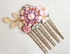 Shabby Chic Pink Vintage Collage Hair Comb, floral, pink pearls, rhinestones, bridesmaid hair accessories, wedding via Etsy