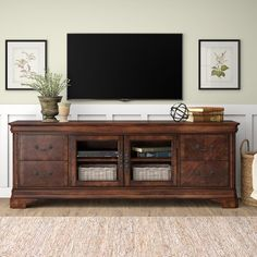Birch Lane™ Heritage Johnston Solid Wood TV Stand for TVs up to 88 inches Home Entertainment Centers, Entertainment Products, Tv Wanddekor, Decor Around Tv, Decorating Around Tv, Tv Stand Decor, Farmhouse Tv Stand, Tv Stand Designs, Solid Wood Tv Stand