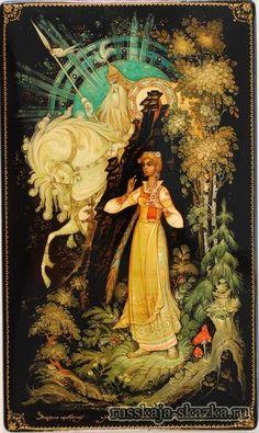 """Сказка""""Василиса Прекрасная"""" http://russkaja-skazka.ru/vasilisa-prekrasnaya/ Василиса собралась, положила куколку свою в карман и, перекрестившись, пошла в дремучий лес.  Идет она и дрожит. Вдруг скачет мимо ее всадник: сам белый, одет в белом, конь под ним белый, и сбруя на коне белая, — на дворе стало рассветать.  #сказки #картинки #ВасилисаПрекрасная #art #Russia #Россия #добро #дети  #иллюстрации #paint #картины #художник #RussianLacquerArt #RussianFairyTales @russkajaskazka"""