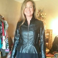 Vegan black jacket Front zip with PEPLUM  So Sexy  and fun Wore only a few times In Excellent Condition! ! Bennardo  Jackets & Coats Blazers