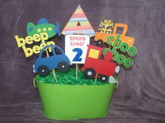 Transportation centerpiece sticks by lillovebugcreations on Etsy