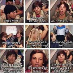 "one direction epic lines - louis tomlinson everybody !! ""Ahh the LIGHT!"" LOLZ THAT FACE!"