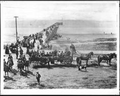 1893 opening of Long Beach pier. Lakewood California, San Pedro California, Long Beach California, California History, Hotel California, Vintage California, Southern California, Long Beach Pier, Emotional Pictures