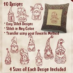 hand embroidery patterns for beginners Simple Hand Embroidery Patterns, Christmas Embroidery Patterns, Christmas Quilting, Embroidery Transfers, Embroidery Stitches, Stitch Design, Christmas Crafts, Christmas Images, Santa Christmas