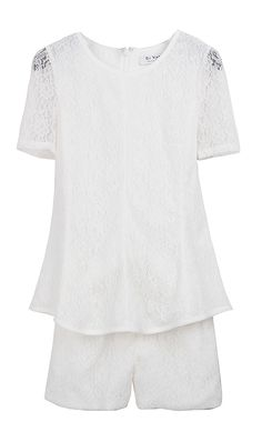 White Sheer Short Sleeve Lace Zipper Blouse With Shorts