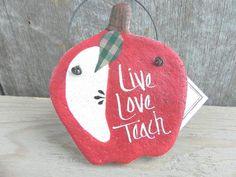 Teacher Gift Salt Dough Apple Ornament