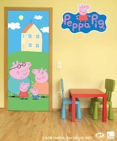 peppa pig door mural wall murals classroom pigs bedroom walls decorations doors christmas